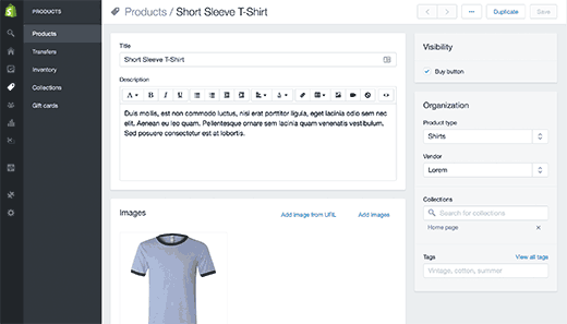 add products to shpopify