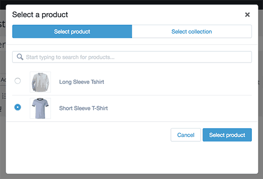 Add product popup