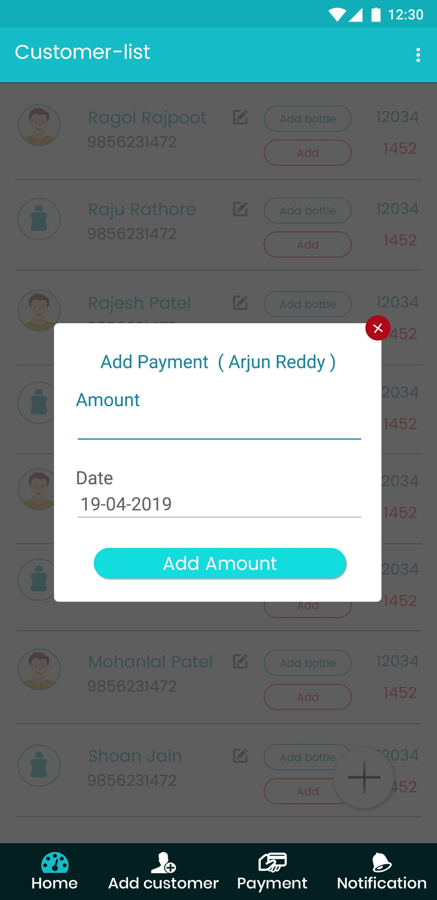 customer can add Payment